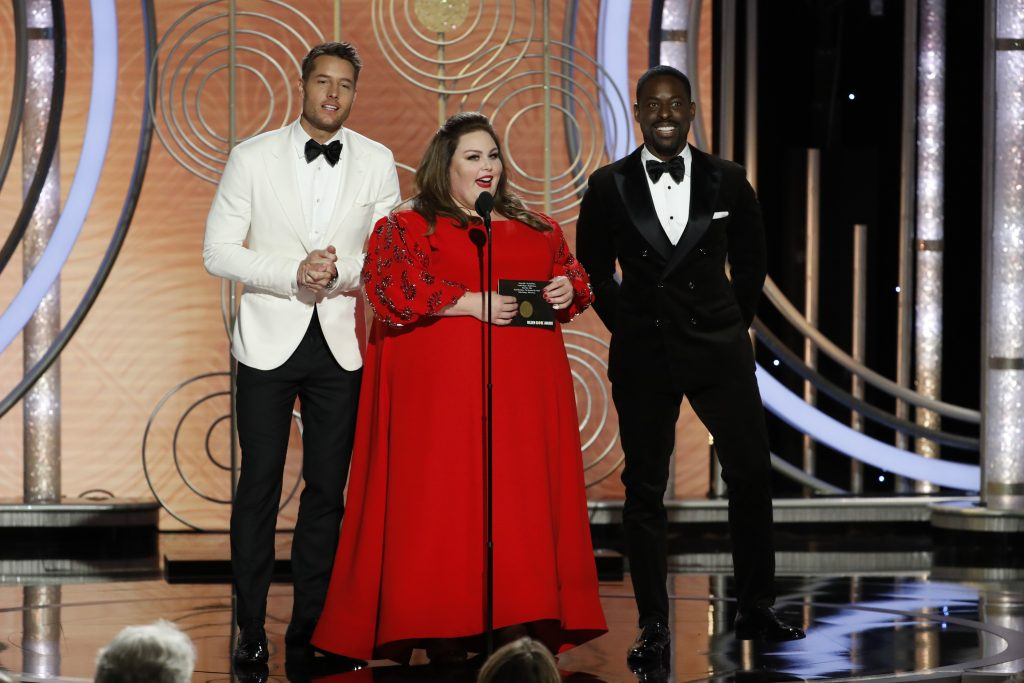 Presenters Justin Hartley, Chrissy Metz and Sterling K. Brown speak onstage during the 76th Annual Golden Globe Awards at The Beverly Hilton Hotel on January 06, 2019 in Beverly Hills, California.  (Photo by Paul Drinkwater/NBCUniversal via Getty Images)