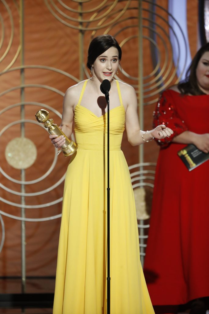 "Rachel Brosnahan from ""The Marvelous Mrs. Maisel"" accepts the Best Performance by an Actress in a Television Series – Musical or Comedy award onstage during the 76th Annual Golden Globe Awards at The Beverly Hilton Hotel on January 06, 2019 in Beverly Hills, California.  (Photo by Paul Drinkwater/NBCUniversal via Getty Images)"