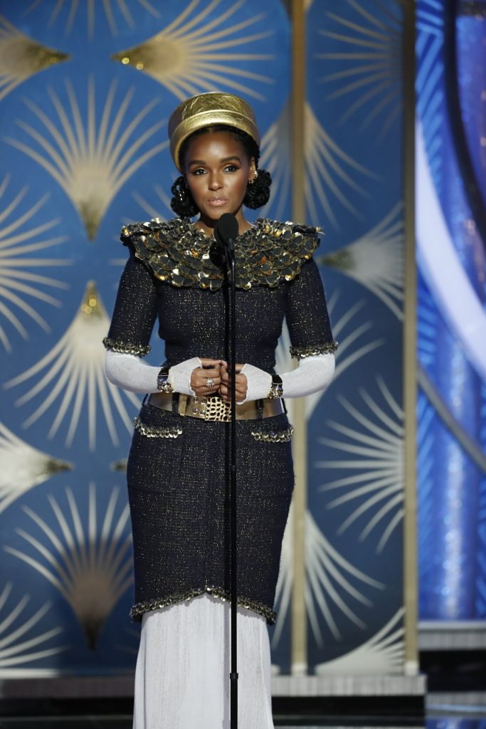 Presenter Janelle Monae  speaks onstage during the 76th Annual Golden Globe Awards at The Beverly Hilton Hotel on January 06, 2019 in Beverly Hills, California.  (Photo by Paul Drinkwater/NBCUniversal via Getty Images)