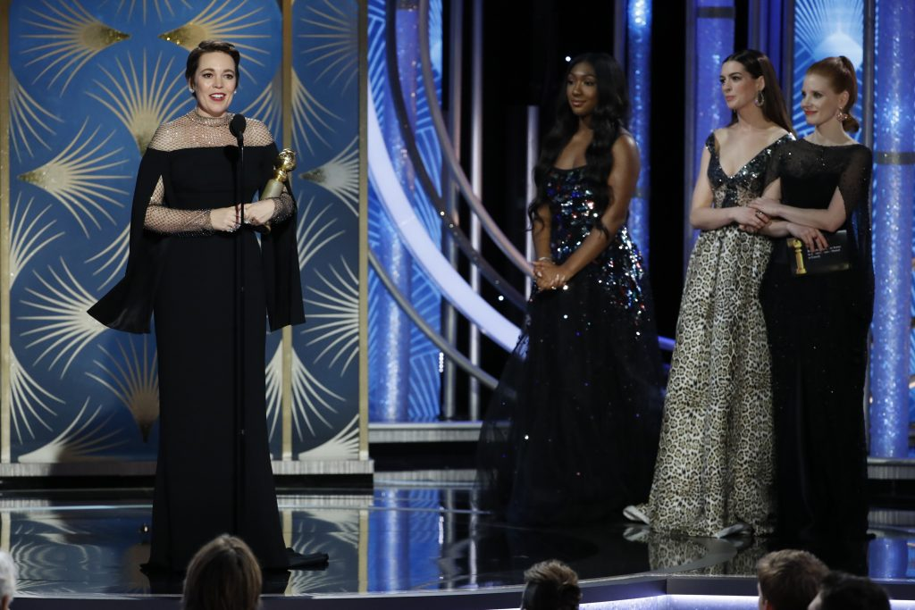 "Olivia Colman from ""The Favourite"" accepts the Best Actress in a Motion Picture – Musical or Comedy award  onstage during the 76th Annual Golden Globe Awards at The Beverly Hilton Hotel on January 06, 2019 in Beverly Hills, California.  (Photo by Paul Drinkwater/NBCUniversal via Getty Images)"