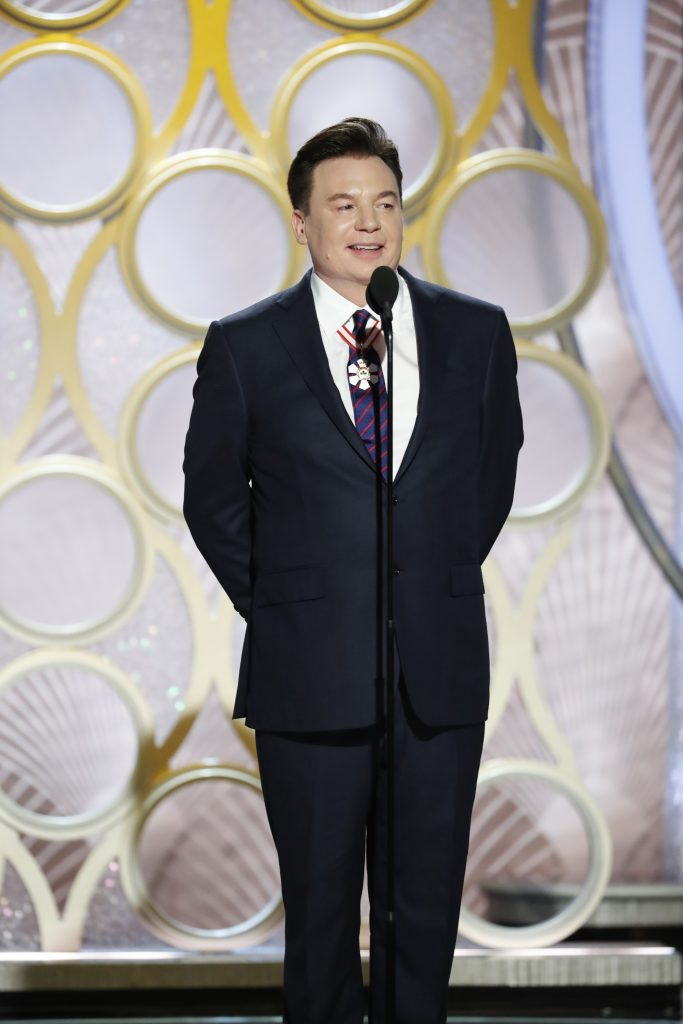 Mike Myers speaks onstage during the 76th Annual Golden Globe Awards at The Beverly Hilton Hotel on January 06, 2019 in Beverly Hills, California.  (Photo by Paul Drinkwater/NBCUniversal via Getty Images)