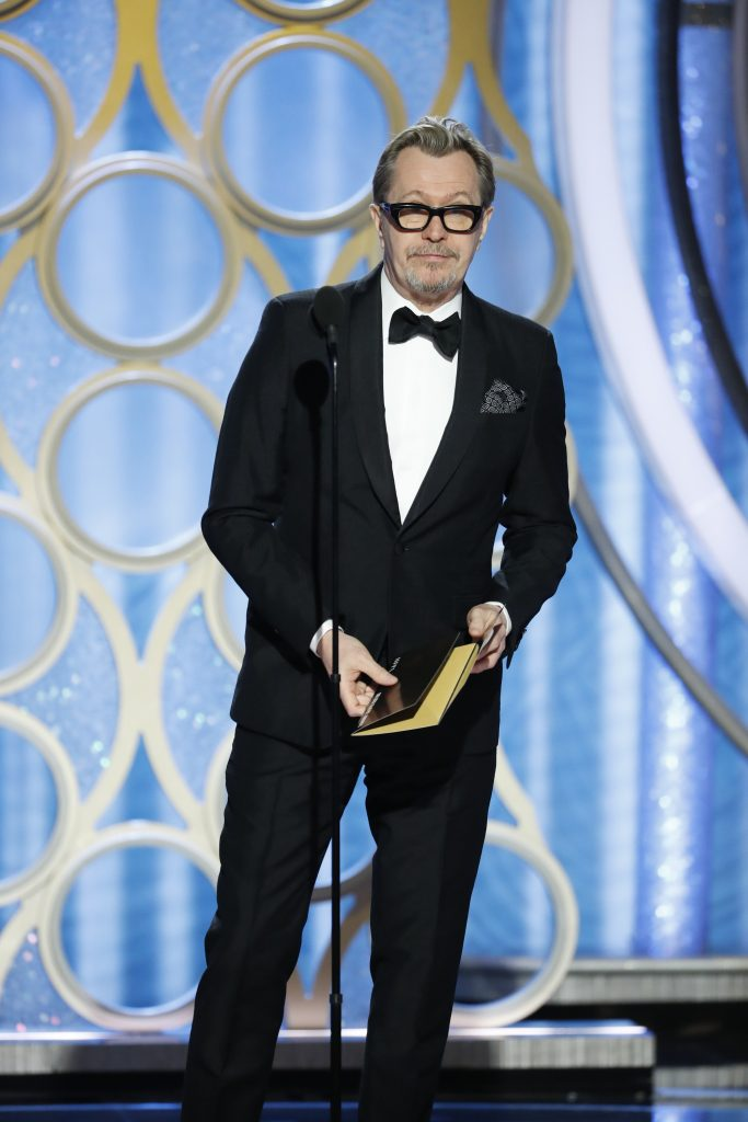 Presenter Gary Oldman  speaks onstage during the 76th Annual Golden Globe Awards at The Beverly Hilton Hotel on January 06, 2019 in Beverly Hills, California.  (Photo by Paul Drinkwater/NBCUniversal via Getty Images)