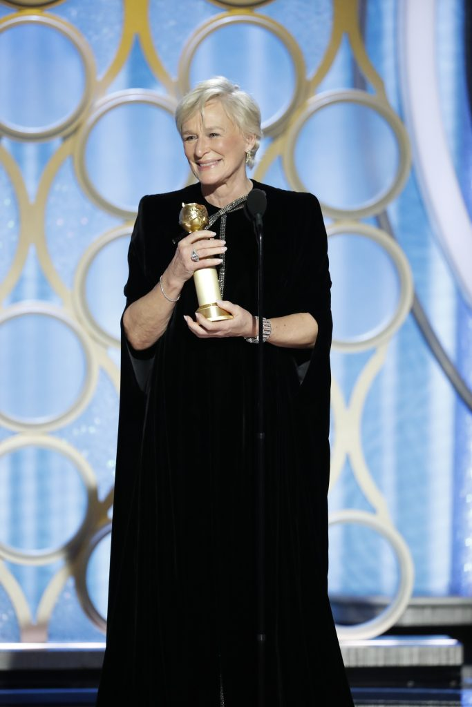 "Glenn Close from ""The Wife"" accepts the Best Actress in a Motion Picture – Drama award onstage during the 76th Annual Golden Globe Awards at The Beverly Hilton Hotel on January 06, 2019 in Beverly Hills, California.  (Photo by Paul Drinkwater/NBCUniversal via Getty Images)"