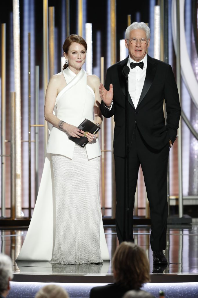 Julianne Moore and Richard Gere   speak onstage during the 76th Annual Golden Globe Awards at The Beverly Hilton Hotel on January 06, 2019 in Beverly Hills, California.  (Photo by Paul Drinkwater/NBCUniversal via Getty Images)