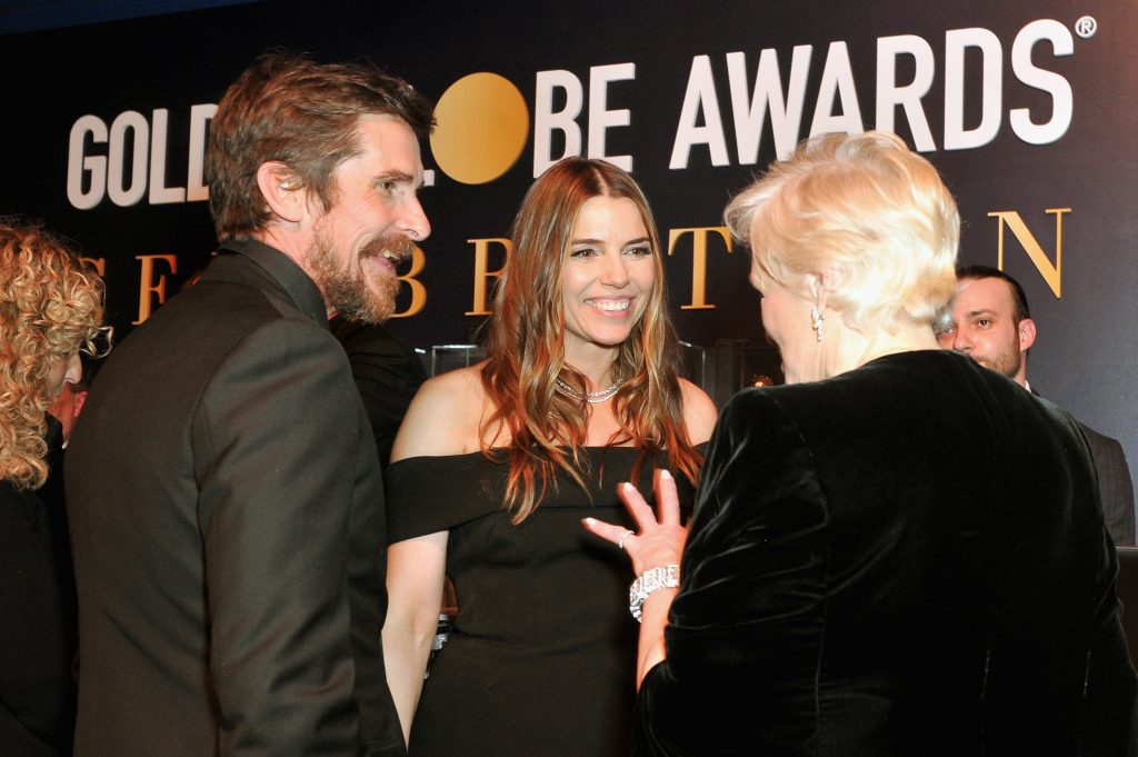 Christian Bale, Sibi Bale and Glenn Close attend the official viewing and after party of The Golden Globe Awards hosted by The Hollywood Foreign Press Association at The Beverly Hilton Hotel on January 6, 2019 in Beverly Hills, California.  (Photo by Rachel Luna/Getty Images)