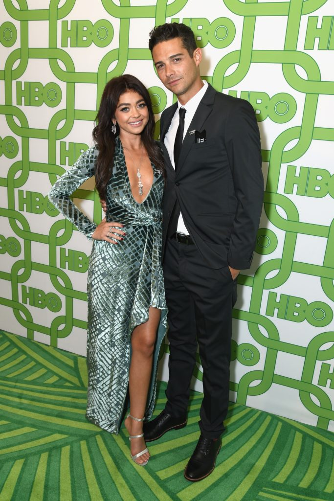 Sarah Hyland (L) and Wells Adams attend HBO's Official Golden Globe Awards After Party at Circa 55 Restaurant on January 6, 2019 in Los Angeles, California.  (Photo by Presley Ann/Getty Images)