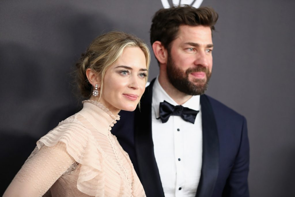 Emily Blunt (L) and John Krasinski attend the InStyle And Warner Bros. Golden Globes After Party 2019 at The Beverly Hilton Hotel on January 6, 2019 in Beverly Hills, California.  (Photo by Rich Fury/Getty Images)