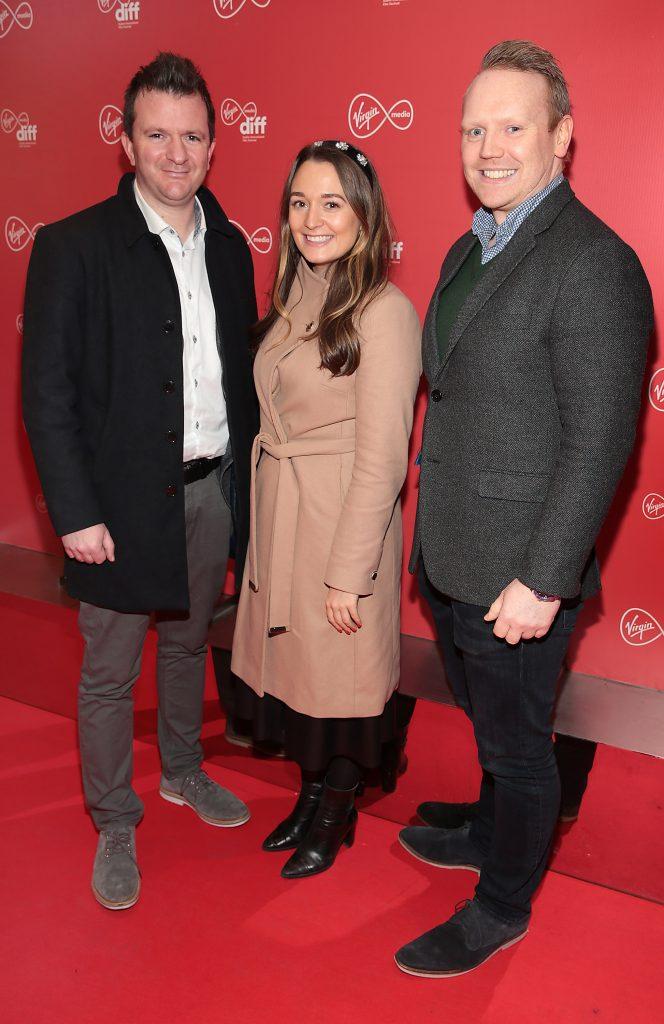 Richie Kelly, Amy O Flaherty and Mark Corrigan at the Virgin Media Dublin International Film Festival launch at The Lighthouse Cinema, Dublin. Photo: Brian McEvoy