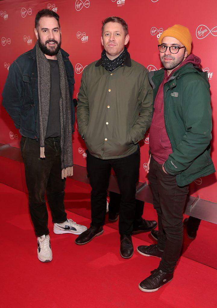 James Lattimer,Ross Killeen and Narayan Van Maele at the Virgin Media Dublin International Film Festival launch at The Lighthouse Cinema, Dublin. Photo: Brian McEvoy