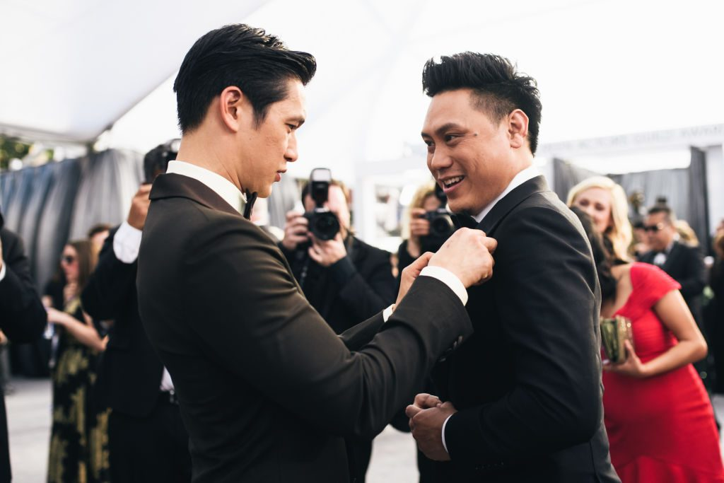 LOS ANGELES, CALIFORNIA - JANUARY 27:  (EDITORS NOTE: Image has been edited using a digital filter) Jon M. Chu (R) and Harry Shum Jr. arrive at the 25th annual Screen Actors Guild Awards at The Shrine Auditorium on January 27, 2019 in Los Angeles, California. (Photo by Emma McIntyre/Getty Images for Turner)