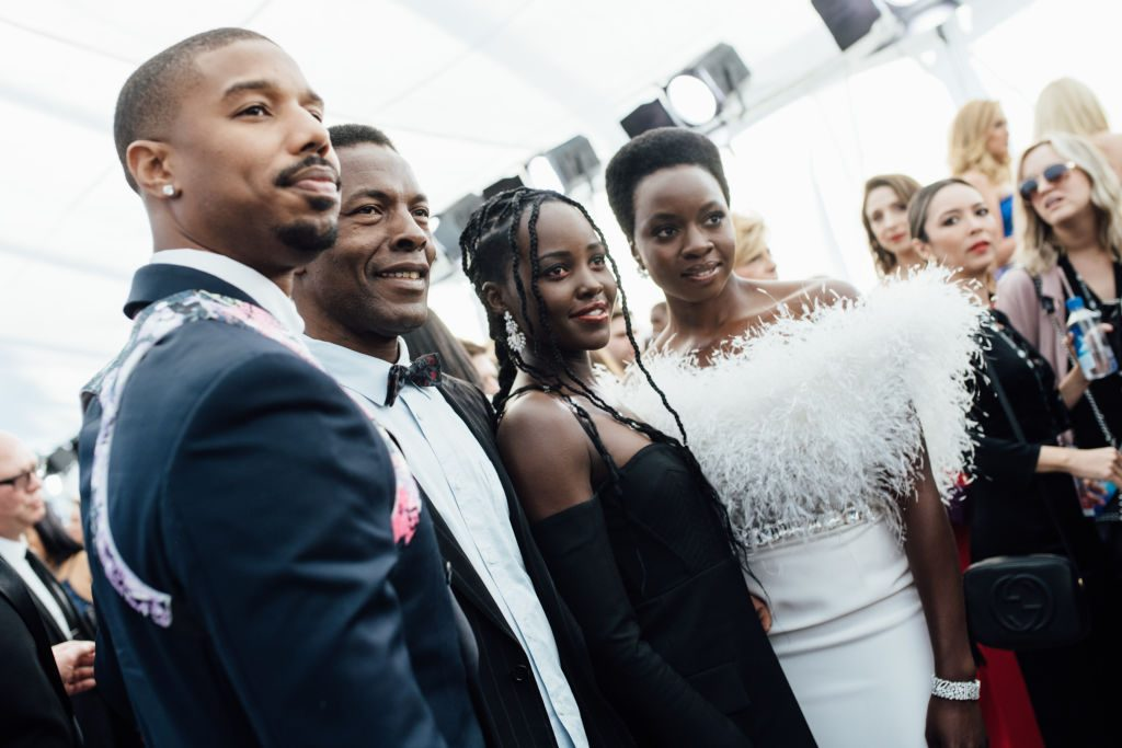 LOS ANGELES, CALIFORNIA - JANUARY 27:  (EDITORS NOTE: Image has been edited using a digital filter)  (L-R) Michael B. Jordan, Isaach de Bankolé, Lupita Nyong'o, and Danai Gurira arrive at the 25th annual Screen Actors Guild Awards at The Shrine Auditorium on January 27, 2019 in Los Angeles, California. (Photo by Emma McIntyre/Getty Images for Turner)