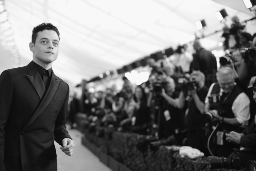 LOS ANGELES, CA - JANUARY 27:  (EDITORS NOTE: Image has been shot in black and white. Color version not available.)  Rami Malek attends the 25th Annual Screen ActorsGuild Awards at The Shrine Auditorium on January 27, 2019 in Los Angeles, California. 480620  (Photo by Charley Gallay/Getty Images for Turner)