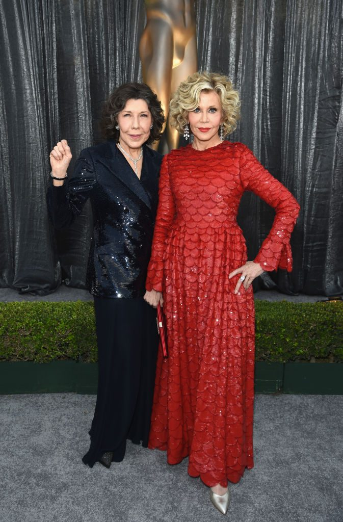 LOS ANGELES, CA - JANUARY 27:  Lily Tomlin (L) and Jane Fonda attend the 25th Annual Screen ActorsGuild Awards at The Shrine Auditorium on January 27, 2019 in Los Angeles, California. 480595  (Photo by Dimitrios Kambouris/Getty Images for Turner)