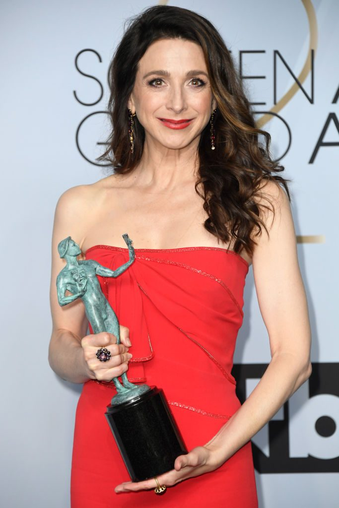 LOS ANGELES, CA - JANUARY 27:  Marin Hinkle, winner of Outstanding Performance by an Ensemble in a Comedy Series for 'The Marvelous Mrs. Maisel,' poses in the press room during the 25th Annual Screen Actors Guild Awards at The Shrine Auditorium on January 27, 2019 in Los Angeles, California.  (Photo by Frazer Harrison/Getty Images)
