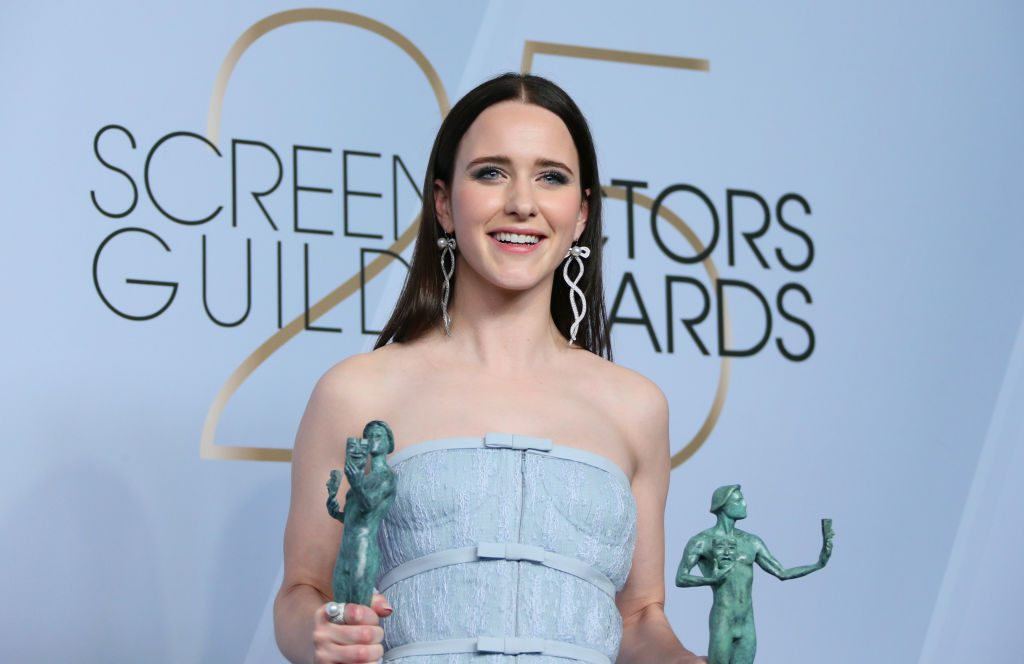 "Outstanding Performance by a Female Actor in a Comedy Series for ""The Marvelous Mrs. Maisel"" winner Rachel Brosnahan poses in the press room during the 25th Annual Screen Actors Guild Awards at the Shrine Auditorium in Los Angeles on January 27, 2019. (Photo by Jean-Baptiste LACROIX / AFP)        (Photo credit should read JEAN-BAPTISTE LACROIX/AFP/Getty Images)"