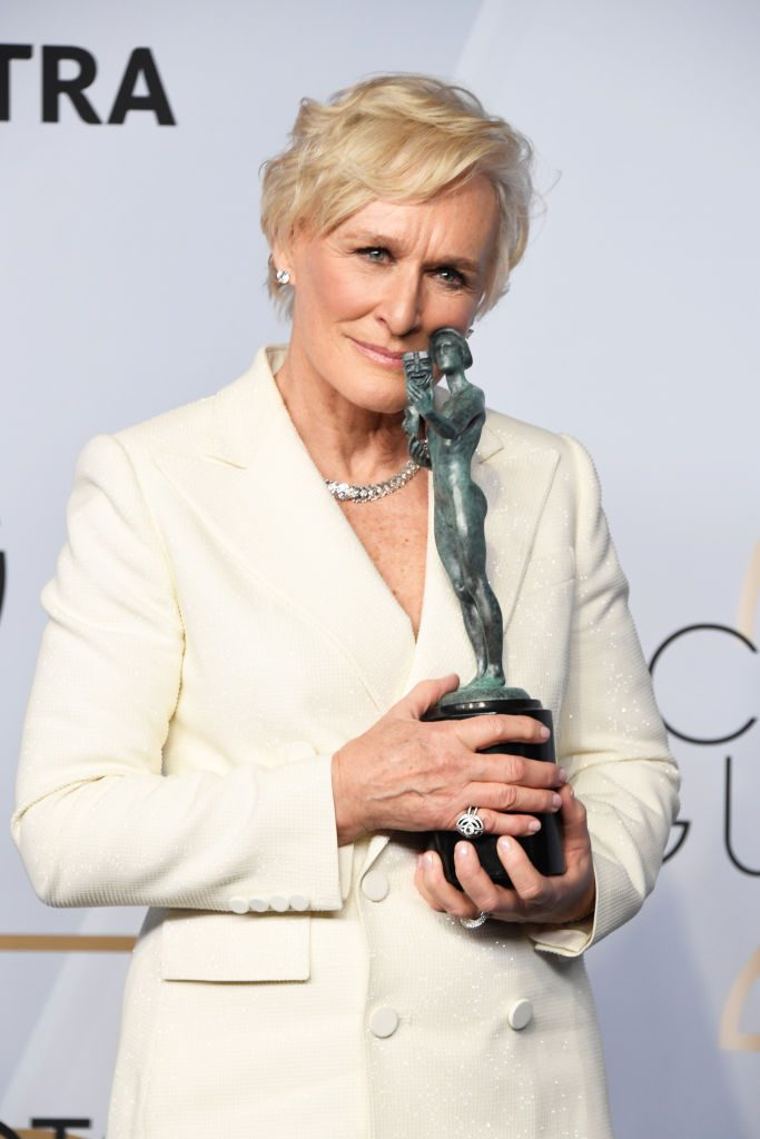 LOS ANGELES, CA - JANUARY 27:  Glenn Close, winner of Outstanding Performance by a Female Actor in a Leading Role for 'The Wife,' poses in the press room during the 25th Annual Screen Actors Guild Awards at The Shrine Auditorium on January 27, 2019 in Los Angeles, California.  (Photo by Frazer Harrison/Getty Images)