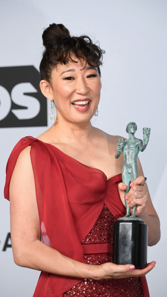 LOS ANGELES, CA - JANUARY 27:  Sandra Oh, winner of Outstanding Performance by a Female Actor in a Drama Series for 'Killing Eve,' poses in the press room during the 25th Annual Screen Actors Guild Awards at The Shrine Auditorium on January 27, 2019 in Los Angeles, California.  (Photo by Frazer Harrison/Getty Images)