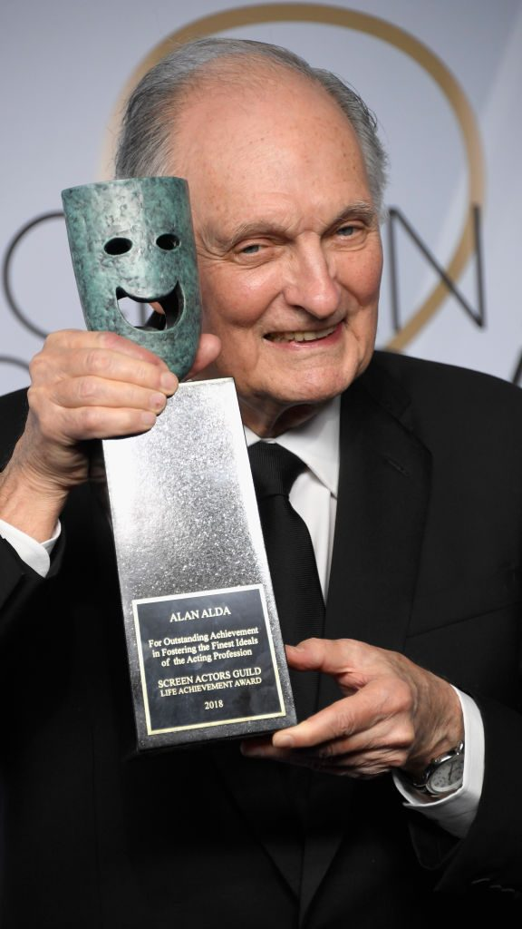 LOS ANGELES, CA - JANUARY 27:  Honoree Alan Alda, recipient of the SAG Life Achievement Award, poses in the press room during the 25th Annual Screen Actors Guild Awards at The Shrine Auditorium on January 27, 2019 in Los Angeles, California.  (Photo by Frazer Harrison/Getty Images)
