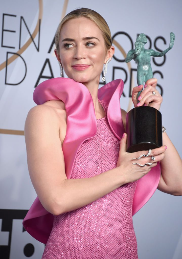 LOS ANGELES, CA - JANUARY 27:  Emily Blunt poses in the press room with award for Outstanding Performance by a Female Actor in a Supporting Role in 'A Quiet Place' during the 25th Annual Screen Actors Guild Awards at The Shrine Auditorium on January 27, 2019 in Los Angeles, California. 480645  (Photo by Gregg DeGuire/Getty Images for Turner)