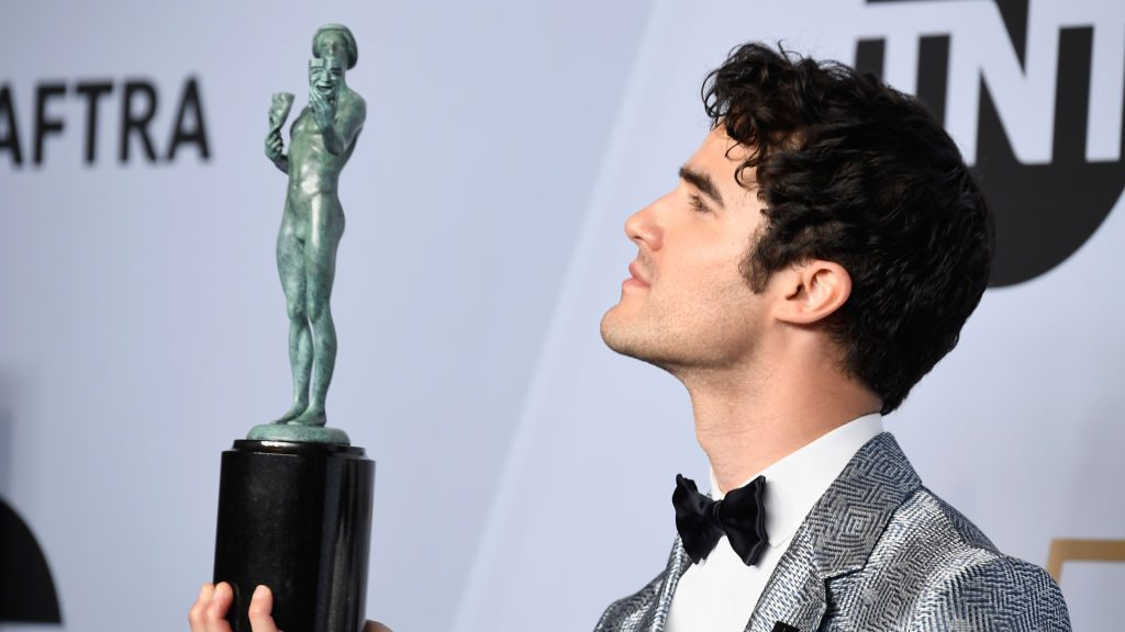 LOS ANGELES, CA - JANUARY 27:  Darren Criss, winner of Outstanding Performance by a Male Actor in a Miniseries or Television Movie for 'The Assassination of Gianni Versace,' poses in the press room during the 25th Annual Screen Actors Guild Awards at The Shrine Auditorium on January 27, 2019 in Los Angeles, California.  (Photo by Frazer Harrison/Getty Images)