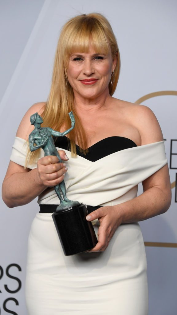 LOS ANGELES, CA - JANUARY 27:  Patricia Arquette, winner of  Outstanding Performance by a Female Actor in a Miniseries or Television Movie for 'Escape at Dannemora,' poses in the press room during the 25th Annual Screen Actors Guild Awards at The Shrine Auditorium on January 27, 2019 in Los Angeles, California.  (Photo by Frazer Harrison/Getty Images)