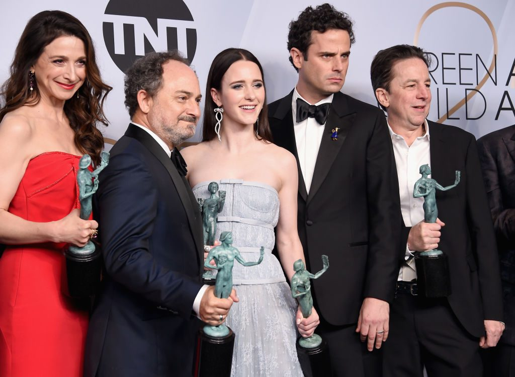 LOS ANGELES, CA - JANUARY 27:  (L-R) Marin Hinkle, Kevin Pollak, Rachel Brosnahan, Luke Kirby, and Brian Tarantina pose in the press room with awards for Outstanding Performance by an Ensemble in a Comedy Series in 'The Marvelous Mrs. Maisel' during the 25th Annual Screen Actors Guild Awards at The Shrine Auditorium on January 27, 2019 in Los Angeles, California. 480645  (Photo by Gregg DeGuire/Getty Images for Turner)