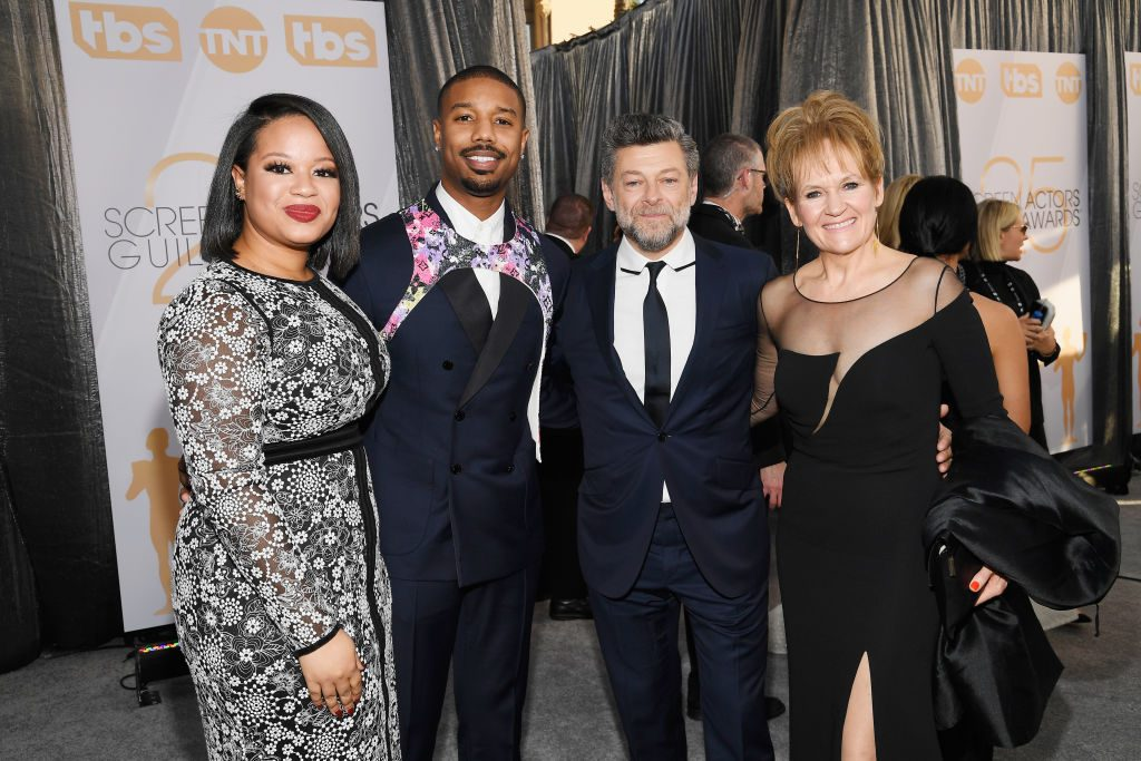 LOS ANGELES, CA - JANUARY 27:  (L-R) Jamila Jordan, Michael B. Jordan, Andy Serkis, and Lorraine Ashbourne attend the 25th Annual Screen ActorsGuild Awards at The Shrine Auditorium on January 27, 2019 in Los Angeles, California.  (Photo by Kevork Djansezian/Getty Images)