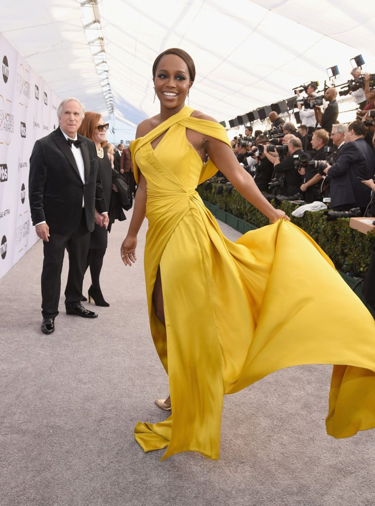 LOS ANGELES, CA - JANUARY 27:  Aja Naomi King attends the 25th Annual Screen ActorsGuild Awards at The Shrine Auditorium on January 27, 2019 in Los Angeles, California.  (Photo by Presley Ann/Getty Images)