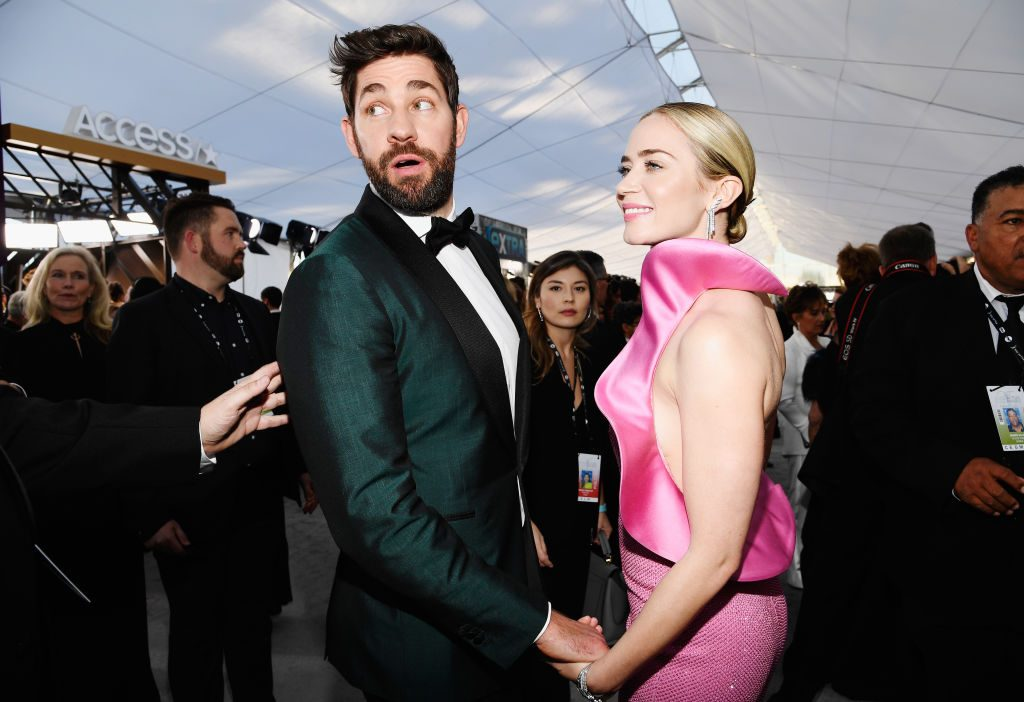 LOS ANGELES, CA - JANUARY 27:  John Krasinski and Emily Blunt attend the 25th Annual Screen ActorsGuild Awards at The Shrine Auditorium on January 27, 2019 in Los Angeles, California.  (Photo by Kevork Djansezian/Getty Images)