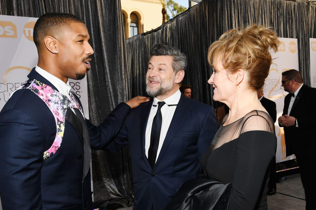 LOS ANGELES, CA - JANUARY 27:  (L-R) Michael B. Jordan, Andy Serkis, and Lorraine Ashbourne attend the 25th Annual Screen ActorsGuild Awards at The Shrine Auditorium on January 27, 2019 in Los Angeles, California.  (Photo by Kevork Djansezian/Getty Images)