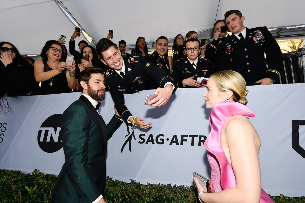 LOS ANGELES, CA - JANUARY 27:  John Krasinski (L) and Emily Blunt attend the 25th Annual Screen ActorsGuild Awards at The Shrine Auditorium on January 27, 2019 in Los Angeles, California.  (Photo by Kevork Djansezian/Getty Images)