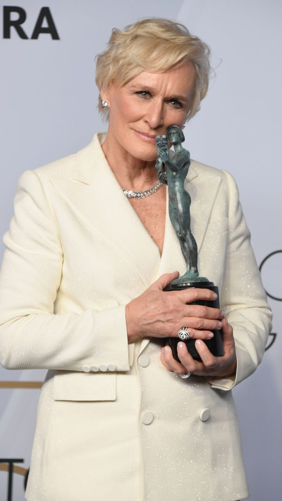 LOS ANGELES, CA - JANUARY 27:  Glenn Close, winner of Outstanding Performance by a Female Actor in a Leading Role for 'The Wife,' poses in the press room during the 25th Annual Screen ActorsGuild Awards at The Shrine Auditorium on January 27, 2019 in Los Angeles, California.  (Photo by Frazer Harrison/Getty Images)