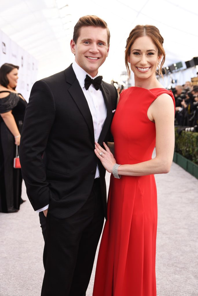 LOS ANGELES, CA - JANUARY 27:  Allen Leech (L) and Jessica Blair Herman attend the 25th Annual Screen ActorsGuild Awards at The Shrine Auditorium on January 27, 2019 in Los Angeles, California.  (Photo by Presley Ann/Getty Images)