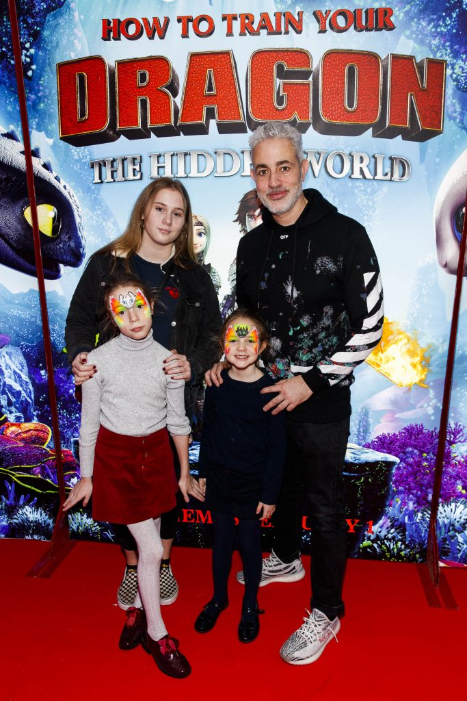 Repro Free: 27/01/2019 Baz Ashmawy and family pictured at the Irish premiere screening of HOW TO TRAIN YOUR DRAGON: THE HIDDEN WORLD at the Light House Cinema, Dublin. Starring Kit Harrington, Cate Blanchett, America Ferrera, Jonah Hill, Kristen Wiig and Jay Baruchel, HOW TO TRAIN YOUR DRAGON : THE HIDDEN WORLD hits cinemas across Ireland from February 1st. Now chief and ruler of Berk alongside Astrid, Hiccup has created a gloriously chaotic dragon utopia.  When the sudden appearance of female Light Fury coincides with the darkest threat their village has ever faced, Hiccup and Toothless must leave the only home they've known and journey to a hidden world thought only to exist in myth.  As their true destines are revealed, dragon and rider will fight together—to the very ends of the Earth—to protect everything they've grown to treasure. Picture Andres Poveda