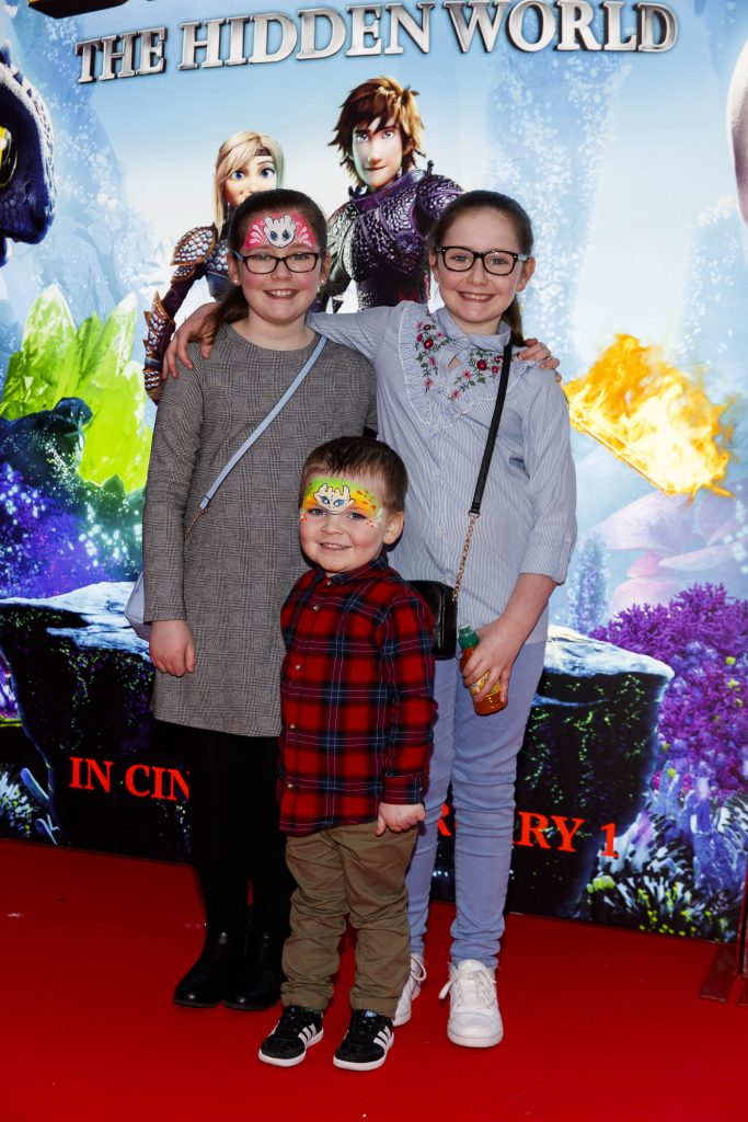 Repro Free: 27/01/2019 Issabelle and Abbie (9) and Sack Lawlor (3) pictured at the Irish premiere screening of HOW TO TRAIN YOUR DRAGON: THE HIDDEN WORLD at the Light House Cinema, Dublin. Starring Kit Harrington, Cate Blanchett, America Ferrera, Jonah Hill, Kristen Wiig and Jay Baruchel, HOW TO TRAIN YOUR DRAGON : THE HIDDEN WORLD hits cinemas across Ireland from February 1st. Now chief and ruler of Berk alongside Astrid, Hiccup has created a gloriously chaotic dragon utopia.  When the sudden appearance of female Light Fury coincides with the darkest threat their village has ever faced, Hiccup and Toothless must leave the only home they've known and journey to a hidden world thought only to exist in myth.  As their true destines are revealed, dragon and rider will fight together—to the very ends of the Earth—to protect everything they've grown to treasure. Picture Andres Poveda