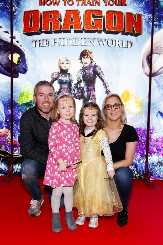 Repro Free: 27/01/2019 Cian, Sue, Eve (4) and Sophie O'Herlihy (3) pictured at the Irish premiere screening of HOW TO TRAIN YOUR DRAGON: THE HIDDEN WORLD at the Light House Cinema, Dublin. Starring Kit Harrington, Cate Blanchett, America Ferrera, Jonah Hill, Kristen Wiig and Jay Baruchel, HOW TO TRAIN YOUR DRAGON : THE HIDDEN WORLD hits cinemas across Ireland from February 1st. Now chief and ruler of Berk alongside Astrid, Hiccup has created a gloriously chaotic dragon utopia.  When the sudden appearance of female Light Fury coincides with the darkest threat their village has ever faced, Hiccup and Toothless must leave the only home they've known and journey to a hidden world thought only to exist in myth.  As their true destines are revealed, dragon and rider will fight together—to the very ends of the Earth—to protect everything they've grown to treasure. Picture Andres Poveda