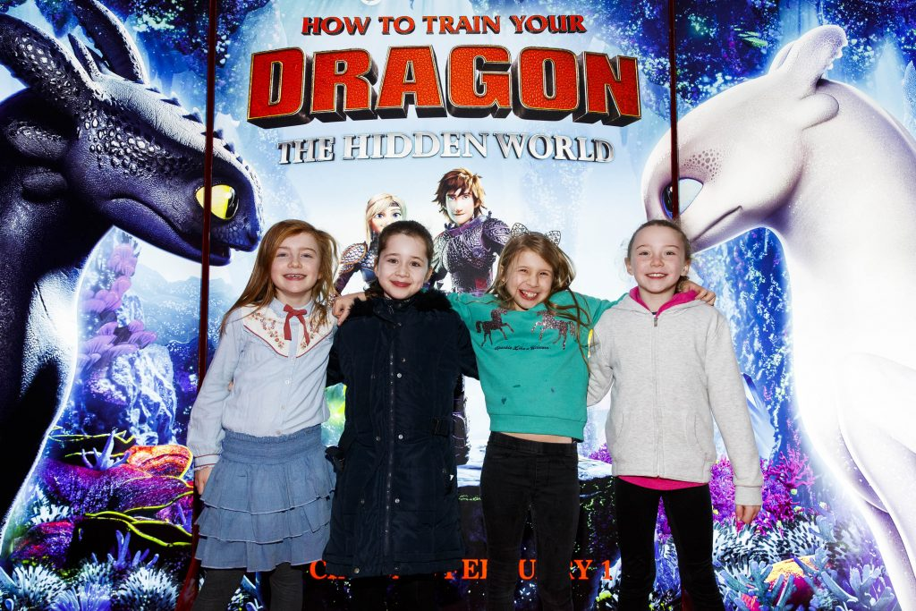 Joely Coffey, Jenevieve Barry, Sadhbh McGee and Éabha Morrow pictured at the Irish premiere screening of HOW TO TRAIN YOUR DRAGON: THE HIDDEN WORLD at the Light House Cinema, Dublin.  Picture Andres Poveda