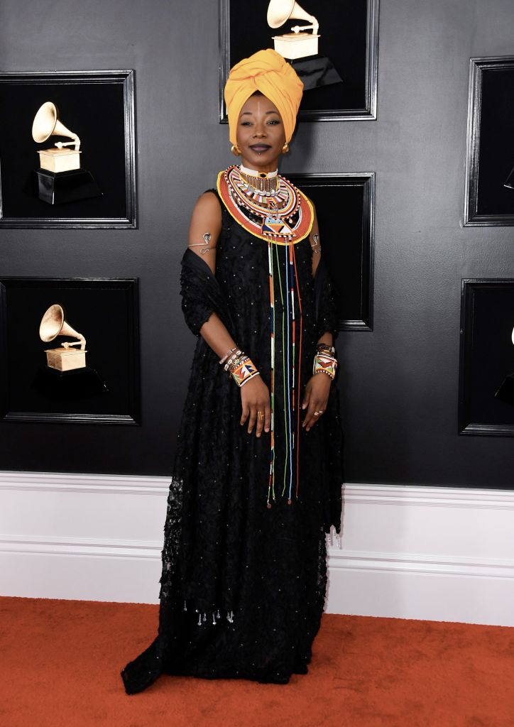 Malian singer-songwriter Fatoumata Diawara arrives for the 61st Annual Grammy Awards on February 10, 2019, in Los Angeles. (Photo by VALERIE MACON / AFP)        (Photo credit should read VALERIE MACON/AFP/Getty Images)