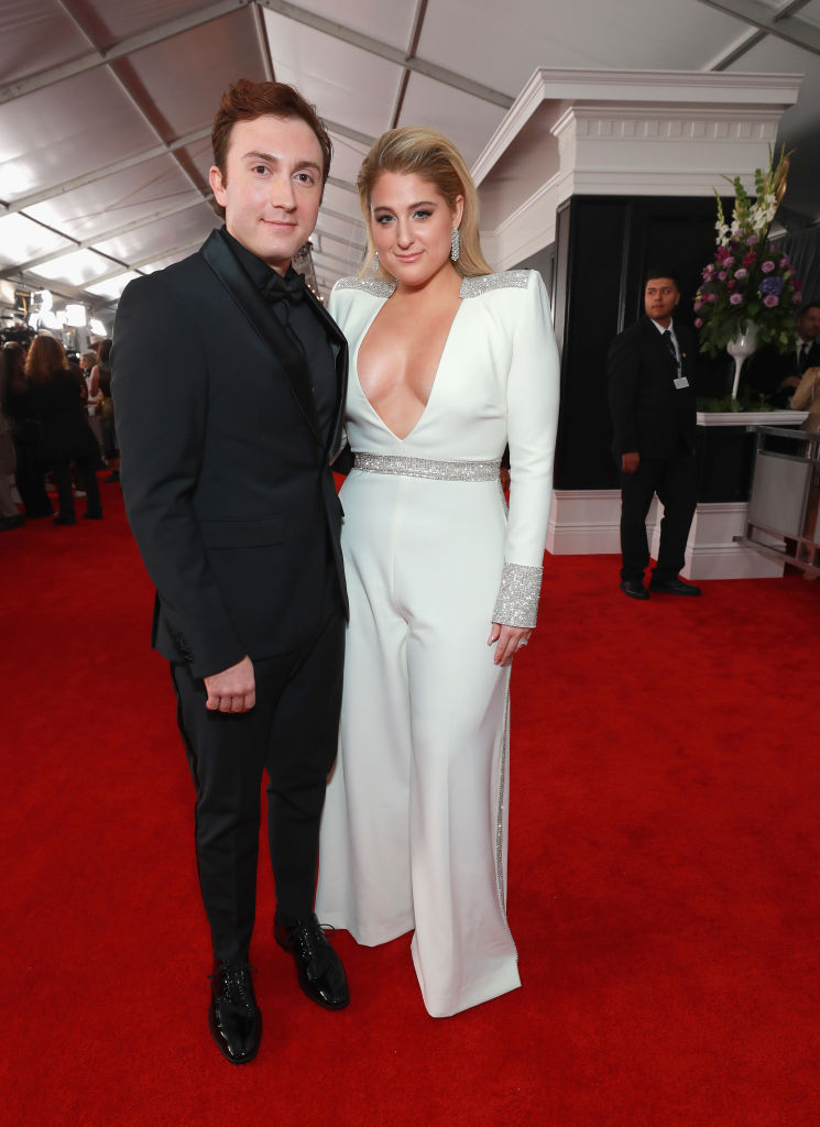 LOS ANGELES, CA - FEBRUARY 10:  Daryl Sabara (L) and  Meghan Trainor attend the 61st Annual GRAMMY Awards at Staples Center on February 10, 2019 in Los Angeles, California.  (Photo by Rich Fury/Getty Images for The Recording Academy)