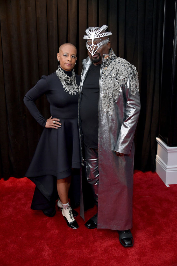 LOS ANGELES, CA - FEBRUARY 10:  (L-R) Stephanie Lynn Clinton and George Clinton attend the 61st Annual GRAMMY Awards at Staples Center on February 10, 2019 in Los Angeles, California.  (Photo by Neilson Barnard/Getty Images for The Recording Academy)