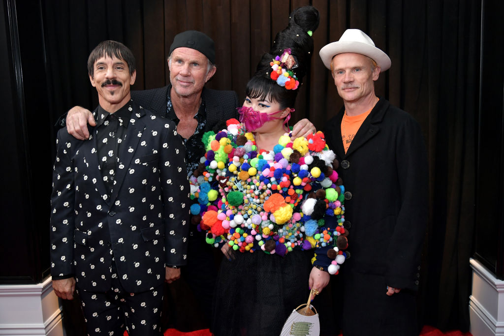 LOS ANGELES, CA - FEBRUARY 10:  (L-R) Anthony Kiedis, Chad Smith, and Flea of Red Hot Chili Peppers with Du Yen attend the 61st Annual GRAMMY Awards at Staples Center on February 10, 2019 in Los Angeles, California.  (Photo by Neilson Barnard/Getty Images for The Recording Academy)