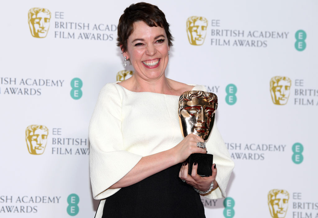 LONDON, ENGLAND - FEBRUARY 10:  Winner of the Leading Actress award for The Favourite, Olivia Colman poses in the press room during the EE British Academy Film Awards at Royal Albert Hall on February 10, 2019 in London, England. (Photo by Pascal Le Segretain/Getty Images)