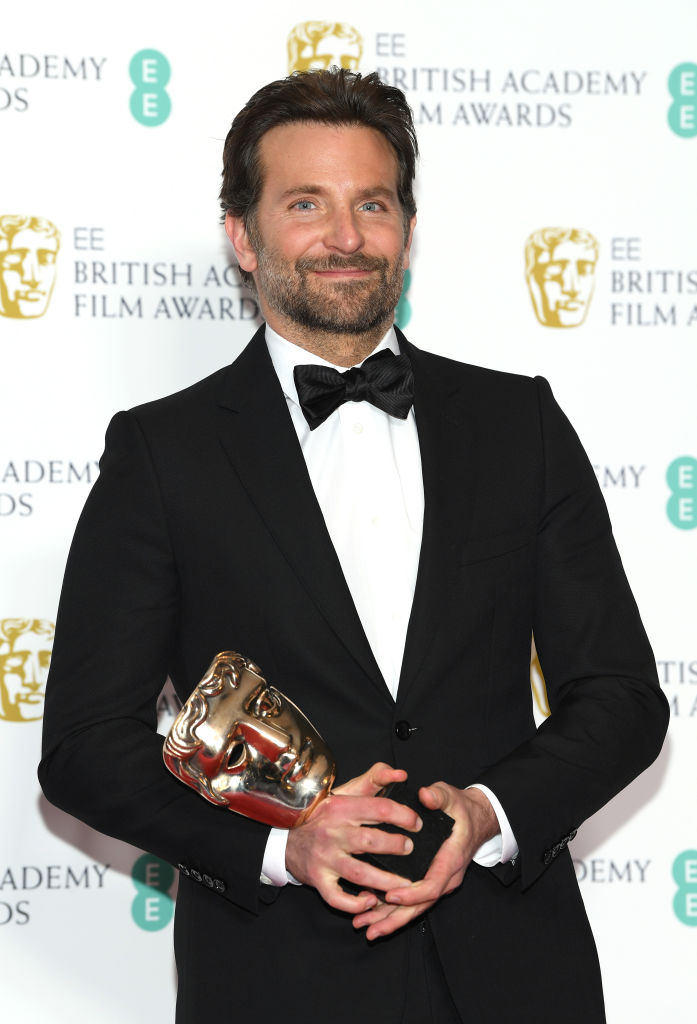 LONDON, ENGLAND - FEBRUARY 10:  Winner of the Original Music award for A Star Is Born, Bradley Cooper poses in the press room during the EE British Academy Film Awards at Royal Albert Hall on February 10, 2019 in London, England. (Photo by Pascal Le Segretain/Getty Images)
