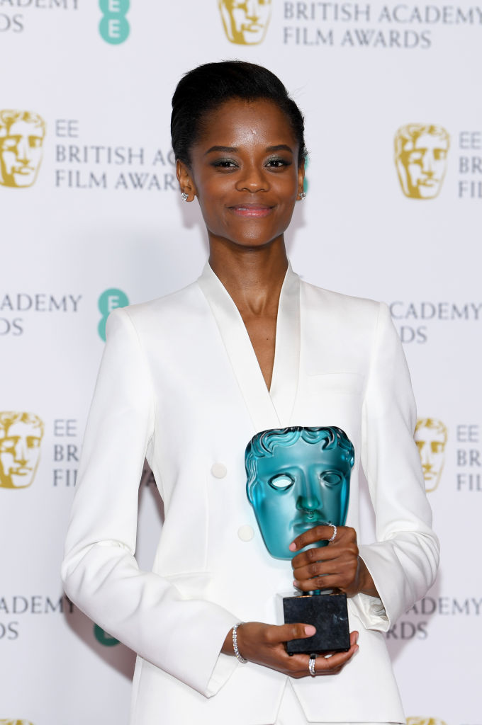 LONDON, ENGLAND - FEBRUARY 10:  Winner of the EE Rising Star award, Letitia Wright poses in the press room during the EE British Academy Film Awards at Royal Albert Hall on February 10, 2019 in London, England. (Photo by Pascal Le Segretain/Getty Images)