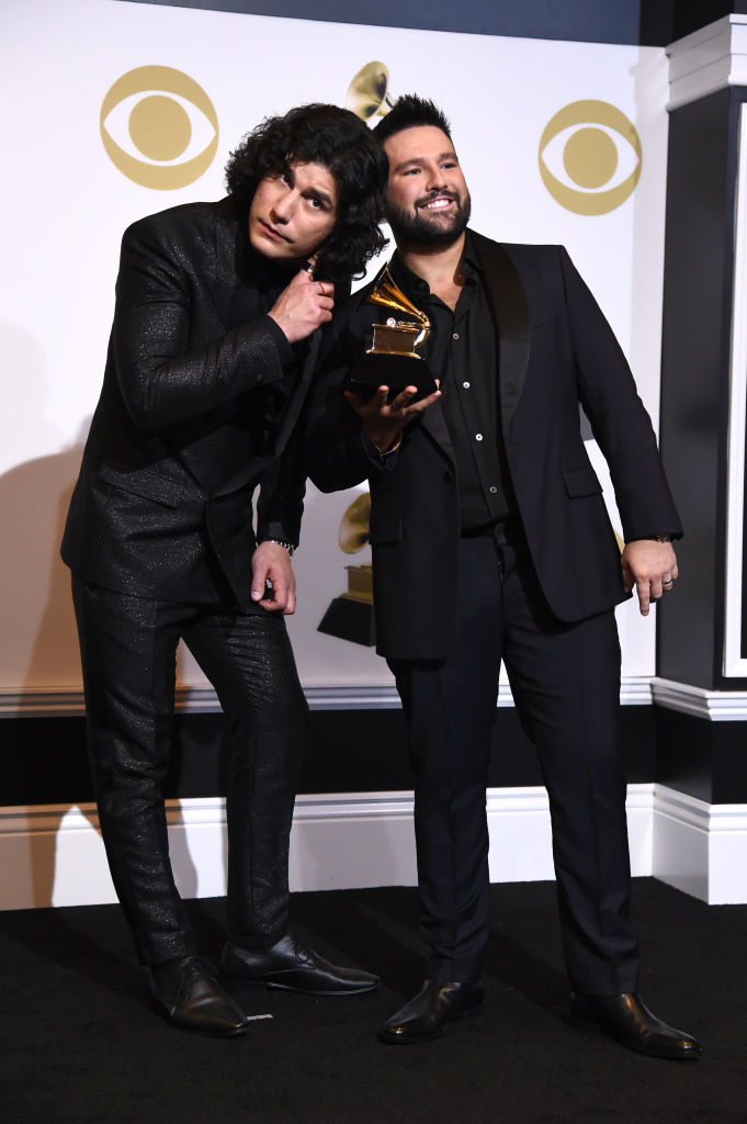 LOS ANGELES, CALIFORNIA - FEBRUARY 10: Dan Smyers (L) and Shay Mooney of Dan + Shay, winners of Best Country Duo/Group Performance for 'Tequila,' pose in the press room during the 61st Annual GRAMMY Awards at Staples Center on February 10, 2019 in Los Angeles, California. (Photo by Amanda Edwards/Getty Images)