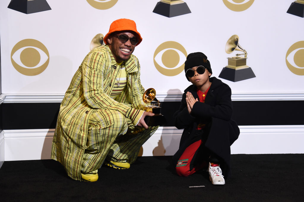 LOS ANGELES, CALIFORNIA - FEBRUARY 10: Anderson .Paak, winner of Best Rap Performance 'Bubblin',' poses in the press room with Soul Rasheed during the 61st Annual GRAMMY Awards at Staples Center on February 10, 2019 in Los Angeles, California. (Photo by Amanda Edwards/Getty Images)