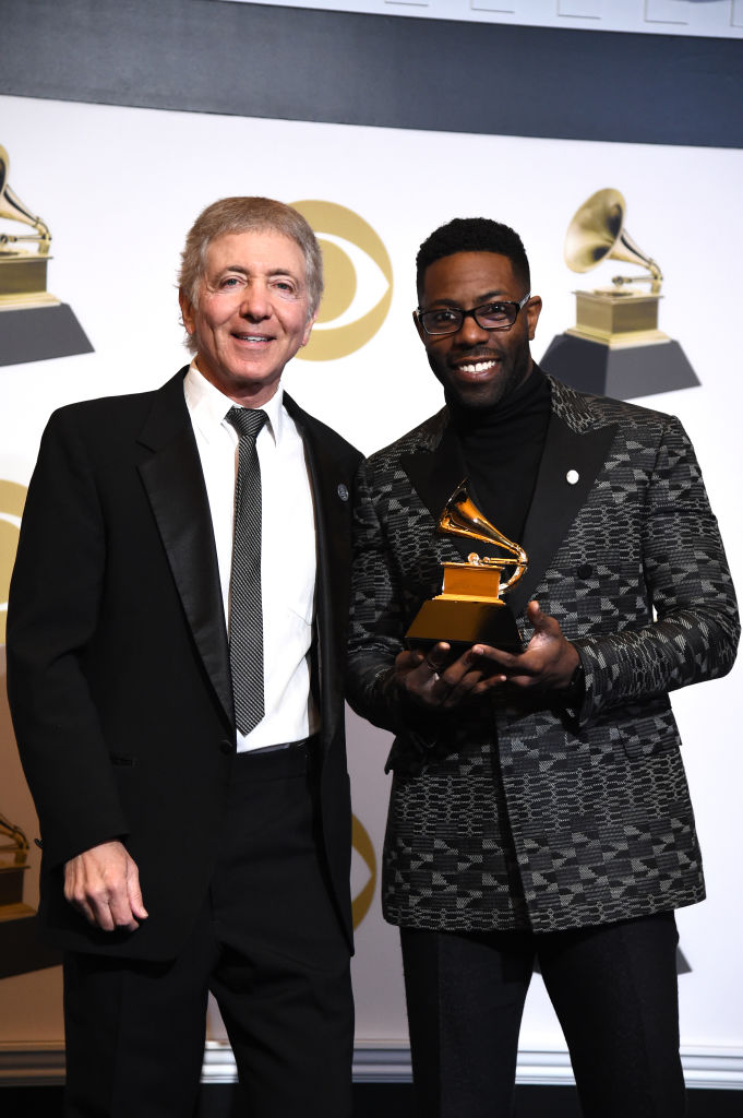 LOS ANGELES, CALIFORNIA - FEBRUARY 10: Randy Waldman (L) and Justin Wilson, winners of Best Arrangement, Instruments and Vocals for 'Spider-Man Theme,' pose in the press room during the 61st Annual GRAMMY Awards at Staples Center on February 10, 2019 in Los Angeles, California. (Photo by Amanda Edwards/Getty Images)