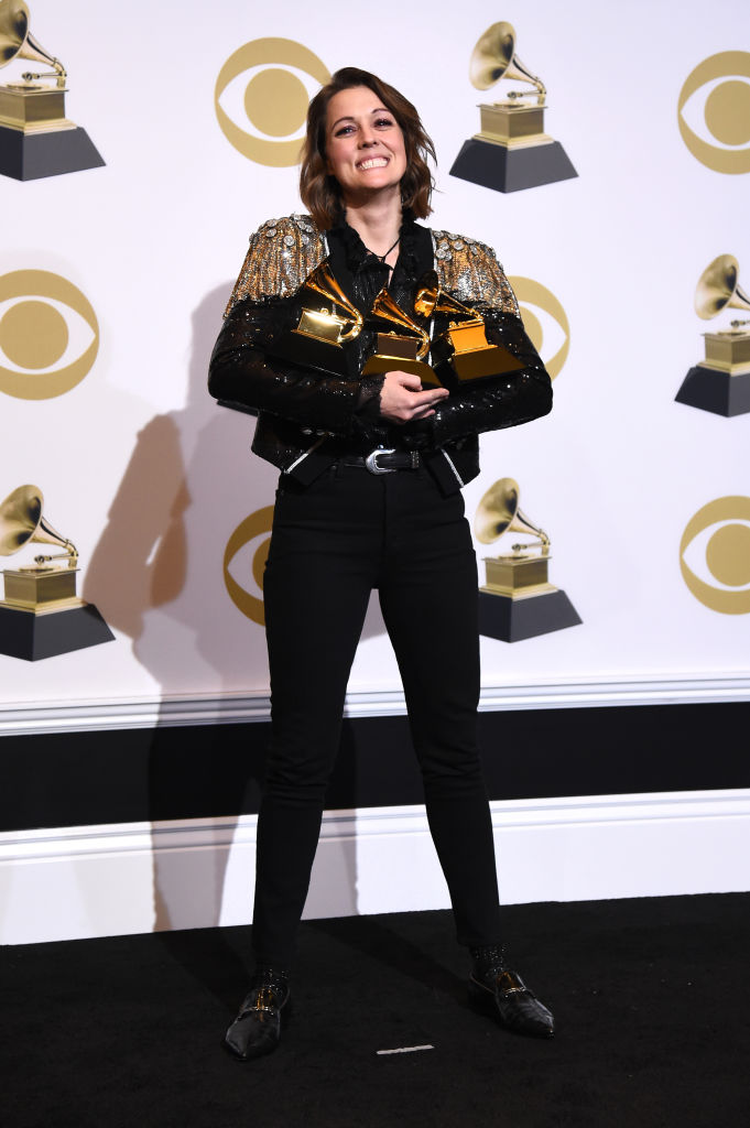 LOS ANGELES, CALIFORNIA - FEBRUARY 10: Singer/songwriter Brandi Carlile poses with her awards for Best American Roots Performance 'The Joke', Best American Roots song 'The joke' and Best Americana Album 'By the Way, I Forgive You' poses in the press room during the 61st Annual GRAMMY Awards at Staples Center on February 10, 2019 in Los Angeles, California. (Photo by Amanda Edwards/Getty Images)