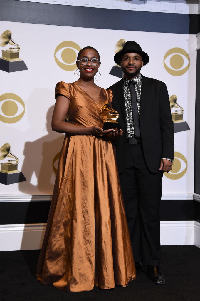 LOS ANGELES, CALIFORNIA - FEBRUARY 10: Cécile McLorin Salvant (L) and Sullivan Fortner, winners of Best Jazz Vocal Album for 'The Window,' pose in the press room during the 61st Annual GRAMMY Awards at Staples Center on February 10, 2019 in Los Angeles, California. (Photo by Amanda Edwards/Getty Images)