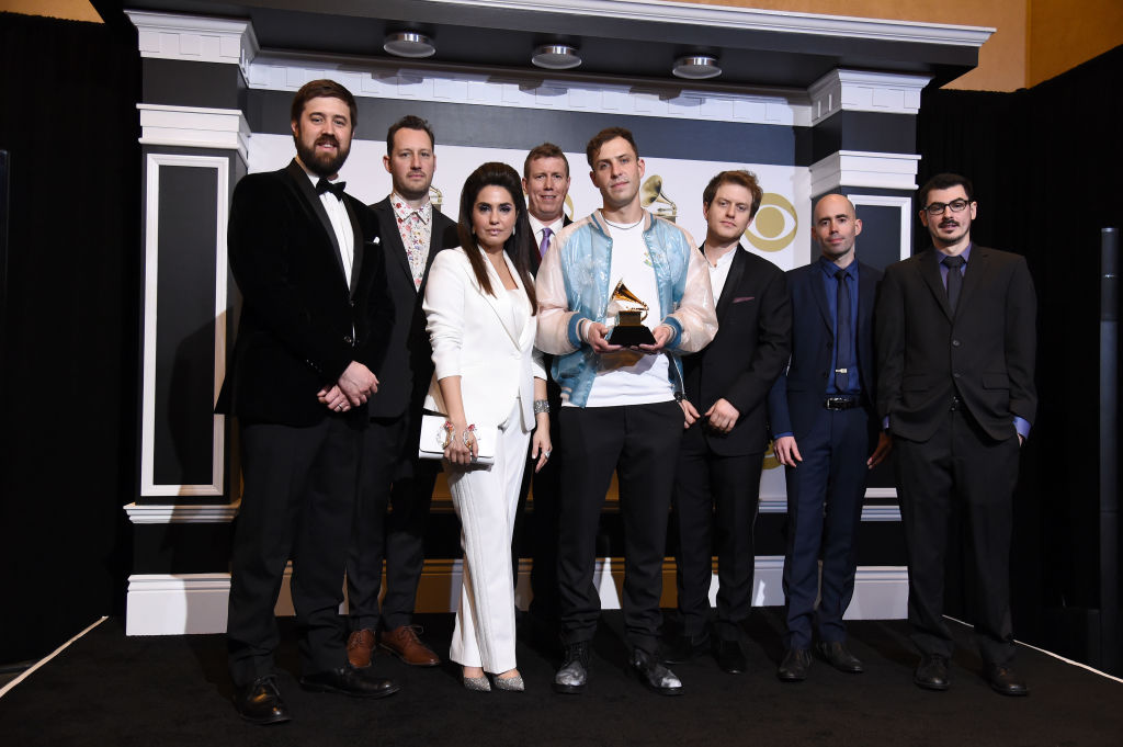 "LOS ANGELES, CALIFORNIA - FEBRUARY 10: Engineers behind ""Colors"", winners of Best Engineered Album, Non-Classical, pose in the press room during the 61st Annual GRAMMY Awards at Staples Center on February 10, 2019 in Los Angeles, California. (Photo by Amanda Edwards/Getty Images)"